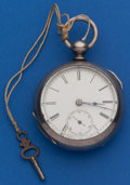 Timepieces:Pocket (pre 1900) , Swiss 18 Size Coin Silver Key Wind. ...