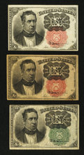 Fractional Currency:Fifth Issue, Fr. 1264, 1265 and 1266 10¢ Fifth Issue Notes.. ... (Total: 3notes)