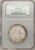 Early Half Dollars, 1807 50C Draped Bust--Improperly Cleaned, Rim Damaged--NCS. Fine 12Details....