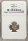 Early Half Dimes, 1796/5 H10C --Holed--NGC Details. XF. LM-2. NGC Census: (0/10).PCGS Population (3/15). Mintage: 10,230. Numismedia Wsl. Pr...