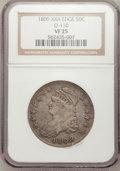 Bust Half Dollars, 1809 50C XXX Edge VF25 NGC. O-110. NGC Census: (3/26). PCGSPopulation (0/47). Numismedia Wsl. Price for problem free NGC...