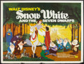 "Movie Posters:Animation, Snow White and the Seven Dwarfs (RKO, R-1960s). British Quad (30"" X40"") and Lobby Stills (3) (R-1967) (10.5"" X 13.5"") . Ani... (Total:4 Items)"