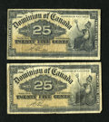 Canadian Currency: , DC-15b 25¢ 1900 Two Examples.. These notes grade Very Good or alittle better.. ... (Total: 2 notes)
