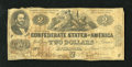 Confederate Notes:1862 Issues, T42 $2 1862. This is a crispy note with edge wear in the upper leftcorner. Foxing is noticed along with less folds than nor...