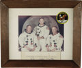"Autographs:Celebrities, Apollo 11 Large Signed Color Crew Photograph Display, 13.5"" x10.75"" crew photo with moon backdrop, matted to 19.25"" x 15.25...(Total: 1 Item)"
