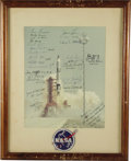"Autographs:Celebrities, Gemini Astronauts Signed Color Photograph, 11"" x 13.5"", matted to15.25"" x 19.25"", picturing a Gemini launch, signed by all ...(Total: 1 Item)"