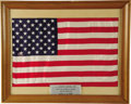 "Transportation:Space Exploration, Large U.S. Flag Flown in Space Aboard Gemini 9, 18"" x 12"". Mattedand framed to 20.25"" x 16.25"". A metal plaque has been aff...(Total: 1 Item)"