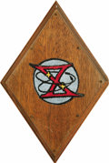 """Transportation:Space Exploration, Gemini 10 Patch, 2.75"""" diameter, affixed to a 6"""" diamond-shaped wooden mount. Accompanied by a signed statement by Garino: """"... (Total: 1 Item)"""