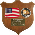 "Autographs:Celebrities, U.S. Flag & Patch Carried on Apollo 13! Affixed to a 12"" x 14"" wooden shield plaque is a 5.5"" x 4"" U.S. flag and the Apollo ... (Total: 1 Item)"