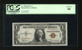 Small Size:World War II Emergency Notes, Fr. 2300 $1 1935A Hawaii Silver Certificate. PCGS Gem New 66.. Overly wide margins reveal a paper guide line marker at botto...