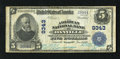 National Bank Notes:Virginia, Danville, VA - $5 1902 Plain Back Fr. 600 The American NB Ch. #9343. Blue stamped signatures of W.R. Harrison and W.R. ...