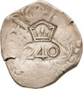 Brazil, Brazil: Joao IV Crowned 240 (Reis) Counterstamped on a Spain cob 4Reales of Toledo ND, ...