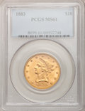 Liberty Eagles: , 1883 $10 MS61 PCGS. PCGS Population (266/344). NGC Census:(504/516). Mintage: 208,740. Numismedia Wsl. Price for problem f...
