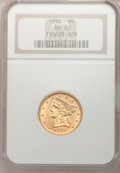 Liberty Half Eagles: , 1896 $5 MS62 NGC. NGC Census: (163/150). PCGS Population (60/67).Mintage: 59,063. Numismedia Wsl. Price for problem free N...