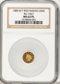 California Fractional Gold: , 1880/70 50C Indian Round 50 Cents, BG-1067, Low R.4, MS62 ProoflikeNGC. NGC Census: (1/7). (#7108...