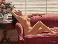 ARTHUR SARON SARNOFF (American, 1912-2000) The Red Couch Oil on canvas 18 x 24 in. Signed lowe