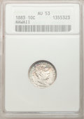 Coins of Hawaii: , 1883 10C Hawaii Ten Cents AU53 ANACS. NGC Census: (13/179). PCGSPopulation (35/209). Mintage: 250,000. (#10979)...