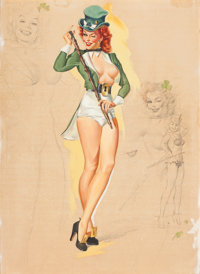 FREEMAN ELLIOTT (American, b. 1922) I'm Not as Green as I Look, calendar pin-up, March 1950 Gouache