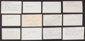 Baseball Collectibles:Others, 1911 Major League Baseball Debut Year Signed Index Cards andGovernment Postcards Lot of 62. ...