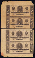 Confederate Notes:1863 Issues, T62 $1 1863 PF-10 Three Uncut Pairs.. ... (Total: 3 items)