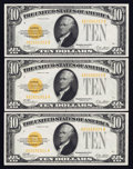 Small Size:Gold Certificates, Three Consecutive Fr. 2400 $10 1928 Gold Certificates. About Uncirculated.. ... (Total: 3 notes)