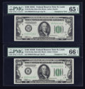 Small Size:Federal Reserve Notes, Fr. 2154-H/Fr. 2155-H $100 1934B/1934C Mule Federal Reserve Notes. Changeover Pair. PMG Gem Uncirculated 66 EPQ & Gem Uncircul... (Total: 2 notes)