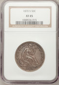 Seated Half Dollars: , 1870-S 50C XF45 NGC. NGC Census: (5/15). PCGS Population (4/30).Mintage: 1,004,000. Numismedia Wsl. Price for problem free...