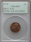 Lincoln Cents: , 1972 1C Doubled Die Obverse MS64 Red and Brown PCGS. PCGSPopulation (237/88). NGC Census: (177/129). Mintage: 75,000.Numi...