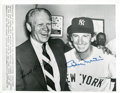 Baseball Collectibles:Photos, Gerald Ford and Billy Martin Multi Signed Photograph....