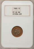 Proof Indian Cents: , 1869 1C PR64 Brown NGC. NGC Census: (14/16). PCGS Population(13/1). Mintage: 600. Numismedia Wsl. Price for problem free N...