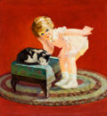 Mainstream Illustration, GEORGE LESLIE RAPP (American, 1878-1942). Petting theKitten. Oil on canvas. 30 x 28 in.. Signed lower left. ...