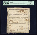 Colonial Notes:Massachusetts, State of Massachusetts Bay Treasury Certificate February 25, 1777Anderson MA-6 PCGS Apparent Extremely Fine 40.. ...