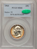 Washington Quarters, 1964 25C MS66 PCGS. CAC. PCGS Population (342/7). NGC Census:(549/39). Mintage: 560,300,032. Numismedia Wsl. Price for pro...