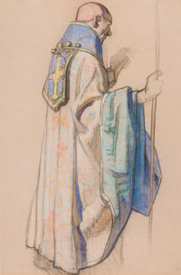 DEAN CORNWELL (American, 1892-1960) Study of a Monk for Mission Building Era mural, Los Angeles Public Library<...