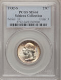 Washington Quarters: , 1932-S 25C MS64 PCGS. Ex: Schiera Collection. PCGS Population(961/105). NGC Census: (519/67). Mintage: 408,000. Numismedia...