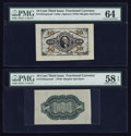 Fractional Currency:Third Issue, Fr. 1251SP/55SP 10¢ Third Issue Wide Margin Pair PMG Choice Uncirculated 64 and Choice About Unc 58 EPQ.. ... (Total: 2 notes)