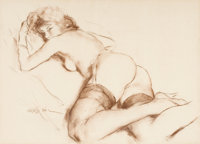 PAL FRIED (Hungarian/American, 1893-1976) Nude with Stockings Pastel on paper 18 x 25.25 in. S