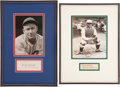 Baseball Collectibles:Others, Gabby Hartnett and Mickey Cochrane Signed Cut Signature DisplaysLot of 2....