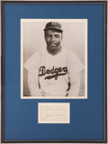 Baseball Collectibles:Others, Jackie Robinson Signed Cut Signature Display....