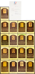Baseball Collectibles:Others, Signed Baseball Hall of Famers Plaque Postcards Lot of 17....