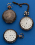 Timepieces:Pocket (post 1900), Three - American 18 Size Silver Parts Watches. ... (Total: 3 Items)
