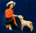 Pin-up and Glamour Art, MAYO OLMSTEAD (American, b. 1925). Feeding the Lamb. Oil onboard. 29 x 26 in.. Signed lower center. From the Estate...