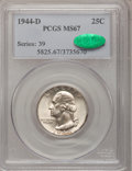 Washington Quarters: , 1944-D 25C MS67 PCGS. CAC. PCGS Population (72/1). NGC Census:(421/3). Mintage: 14,600,800. Numismedia Wsl. Price for prob...