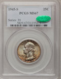 Washington Quarters: , 1945-S 25C MS67 PCGS. CAC. PCGS Population (34/0). NGC Census:(147/0). Mintage: 17,004,000. Numismedia Wsl. Price for prob...