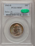 Washington Quarters, 1943-D 25C MS67 PCGS. CAC. Mintage: 16,095,600. (#5821)...