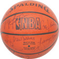 Baseball Collectibles:Balls, 1985 NBA All-Stars Multi Signed Leather Basketball - With VintageJordan Signature!...