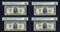 Fr. 1961-B* $5 1950 Wide I Federal Reserve Notes. Four Consecutive Examples
