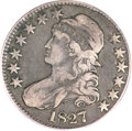 Bust Half Dollars, 1827 50C Square Base 2 Fine 15 PCGS. CAC. O-148, High R.6....