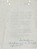 Baseball Collectibles:Others, 1951 Bill McGowan Signed Letter. ...