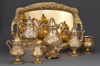 AN AMERICAN SILVER GILT SIX-PIECE TEA AND COFFEE SERVICE WITH TRAY Bailey & Company, Philadelphia, Pennsylvania, c...